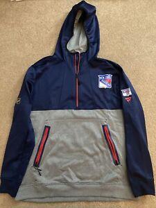 Jack Johnson Player Worn 2021 1/4 Zip New York Rangers Hoodie Sweatshirt - COA
