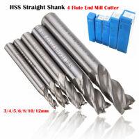 4-Flöte Hartmetall HSS-A Schaftfräser CNC-Fräser Werkzeuge Dia 3-12mm Fräser Neu
