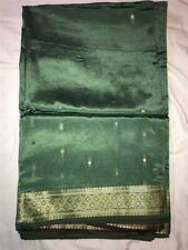 Sage Green Woven Gold Sari Indian Saree Bollywood Fabric Panel Drape
