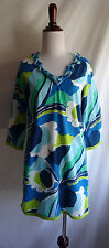 Boden 2 Blue Green Retro Pop Art Print Cotton Boho Tunic Mini Dress Cover Up