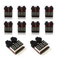 10x RC Lipo Battery Low Voltage Alarm 1S-8S Buzzer Indicator Checker Tester LEDX