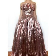 Vintage Victor Costa Rose Gold Metallic Lame' Formal Evening Party Gown Size 10
