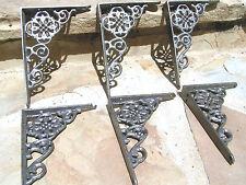 SIX Cast Iron Wall Shelf Brackets, small braces, corbels