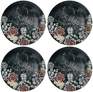 """Halloween Melamine Dinner Plates 11""""  Set of 4 Gothic Roses and Spider New Spook"""