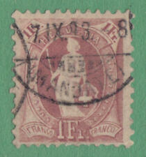 Switzerland #87c used 1Fr claret Helvetia 1891 wmk 182 tp 1 pf 11½x11 cv $32.50