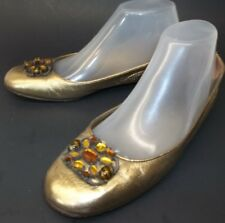Saks Fifth Avenue Womens Shoes US 7.5 Gold Jeweled Ballet Italy Flats Holiday