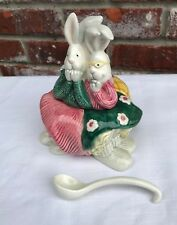 Vtg 1994 Fitz & Floyd Sock Hoppers 3 Rabbits Covered Sugar Bowl Dish Spoon Htf