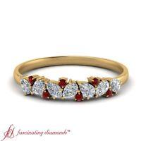 Pear Shaped Diamond & Ruby Gemstone Unique 18K Yellow Gold Wedding Band 0.45 Ctw