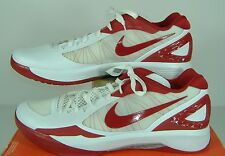"New Mens 17.5 NIKE ""Zoom Hyperdunk 2011 LOW"" White Red Basketball Shoes $105"