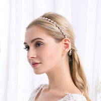 Wedding Bridal Round Rhinestone Crystal Headband Alloy Hair Band Ribbon Belt