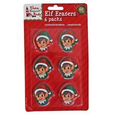 6pc Elf Rubber Eraser Set Kids Childrens Christmas Xmas Stocking Filler Toy Gift