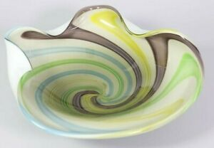 Vintage Murano Style Art Glass Bowl Hand Blown Multi Colored Swirl Candy Dish