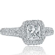 1.13 Ct Princess Cut Diamond Engagement Halo Ring 18k White Gold Split Shank