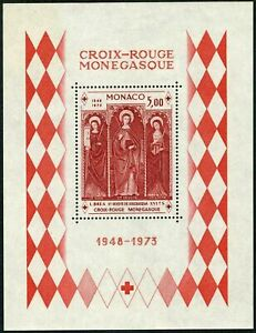 Monaco 864,MNH. Red Cross Monaco,1973.Saints Barbara,Devote,Agatha,by Louis Brea