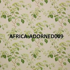 COLEFAX & FOWLER ENGLISH COUNTRY HYDRANGEAS LINEN FABRIC 10 YARDS GREEN BEIGE