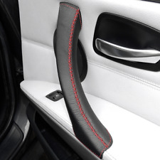 Pull Handle Cover BMW 3 Series E90 E91 E92 E93 Black Leather Red Stitch - RIGHT