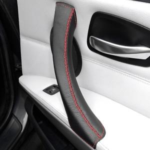 Pull Handle Cover BMW 3 Series E90 E91 E92 E93 Black Leather Red Stitch - RIGHT