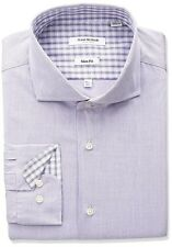 Isaac Mizrahi Men's Slim Fit Purple Micro Check Cutaway Collar Dress Shirt 15.5