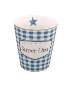 KRASILNIKOFF Mug Becher - Tasse ohne Henkel Super Opa Höhe ca. 10 cm HM32