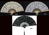 Battenburg Lace Victorian Civil War Fan Beige White or Black Wedding Supplies