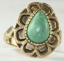 EXOTIC VINTAGE ANTIQUE 14K GOLD TURQUOISE RING SIZE 5.5
