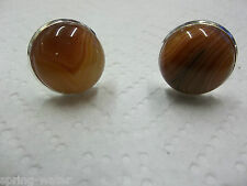 Jewelry cufflinks natural agate cabs  hand set silver plated brass setting <><