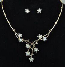 Gold Tone Flower Floral Wedding Costume Jewellery Set use Swarovski Crystals