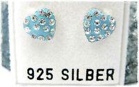 NEU 925 Silber HERZ OHRSTECKER blau STRASSSTEINE in kristallklar OHRRINGE