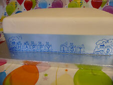 PERSONALISED TRAIN ribbon with toys for boys birthday or christening cakes etc