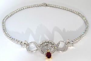 GIA CERTIFIED 21.19CT NATURAL RUBY DIAMONDS ETERNITY RIVERA CLUSTER NECKLACE