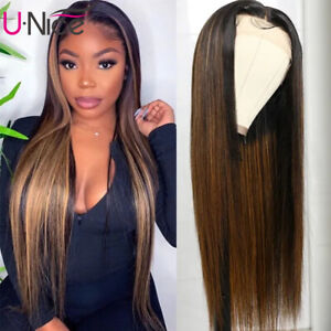 Indian Highlight Ombre Straight Lace Front Human Hair Wigs For Women Pre Plucked