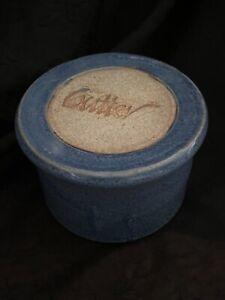 Handmade Stoneware French Butter Keeper Dish Crock, Slate Blue Glaze, EUC