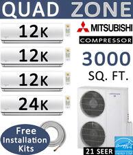 Quad 60000 BTU Ductless Mini Split Air Conditioner Heat Pump, 12000 x 3 + 24000