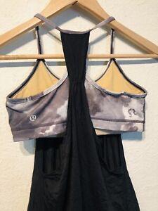 Lululemon No Limits Tank Size 6 Black Gray Tie Dye