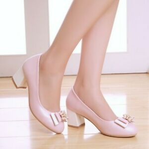 Womens Rhinestone Bows Round Toe Pumps Block High Heels Party Wedding Shoes Size