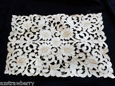 Handmade Ecru Embroidery Cutout work floral lace 18 x 11.25 Table Linen Placemat