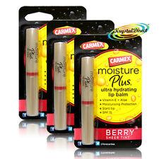 3x Carmex Moisture Plus BERRY Sheer Tint Ultra Hydrating Lip Balm 2g Vitamin E