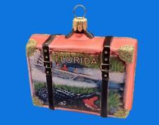 Florida Vacation Suitcase Luggage Trunk Glass Christmas Ornament Manatee Alligat
