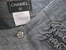"Authentic CHANEL Half Pants Denim Ruffles Pocket Camellia button 28""W RARE Italy"