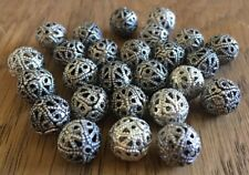 12pcs Antique Silver Tibetan Style Hollow Round 8 mm Spacer Beads