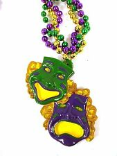 Comedy Tragedy Mask Purple Green Yellow New Orleans Mardi Gras Bead Necklace