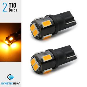 2x T10 168 921 6-LEDs 3000K Amber Yellow License Plate/Interior Side Light Bulbs