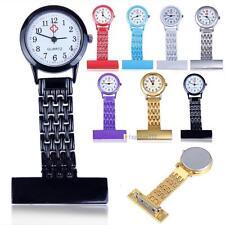 Vintage de plata de acero inoxidable enfermeras de bolsillo reloj de cuarzo OP