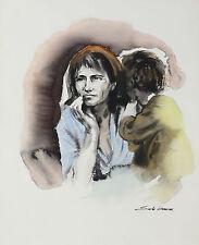 Sandu Liberman (Romanian 1923-1977) Watercolor on Paper Migrant Mother Signed