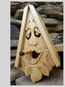 "Unique Smoking Joe Bird House Rustic Hand Carved  Face Wood Spirit 16"""