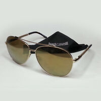 Just Cavalli Women Aviator Sunglasses Gold Tone Mirrored Lens