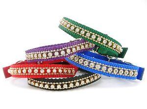 "SCOTT Jeweled Nylon Cat Collar, 10"" x 5/8"", Crystal Rhinestones"