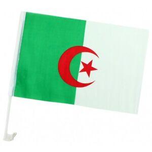 Drapeau Algérien étendard Algérie 45 x 30 cm Djazair + Support pour Voiture