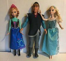 "Mattel Disney Frozen's Kristoff Elsa Anna Lot 12"" Doll Figurine Barbies"