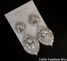 White Gold Plated Two Section Cubic Zirconia Cluster Wedding Brides Earring UK